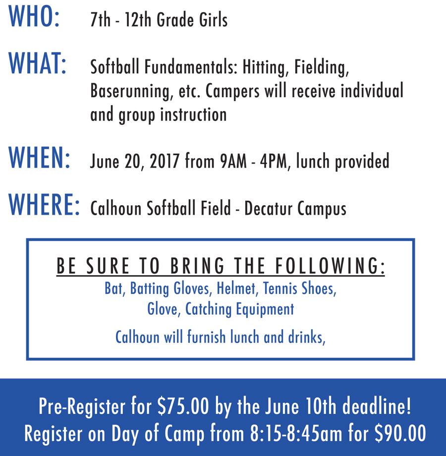 Download Softball Camp brochure